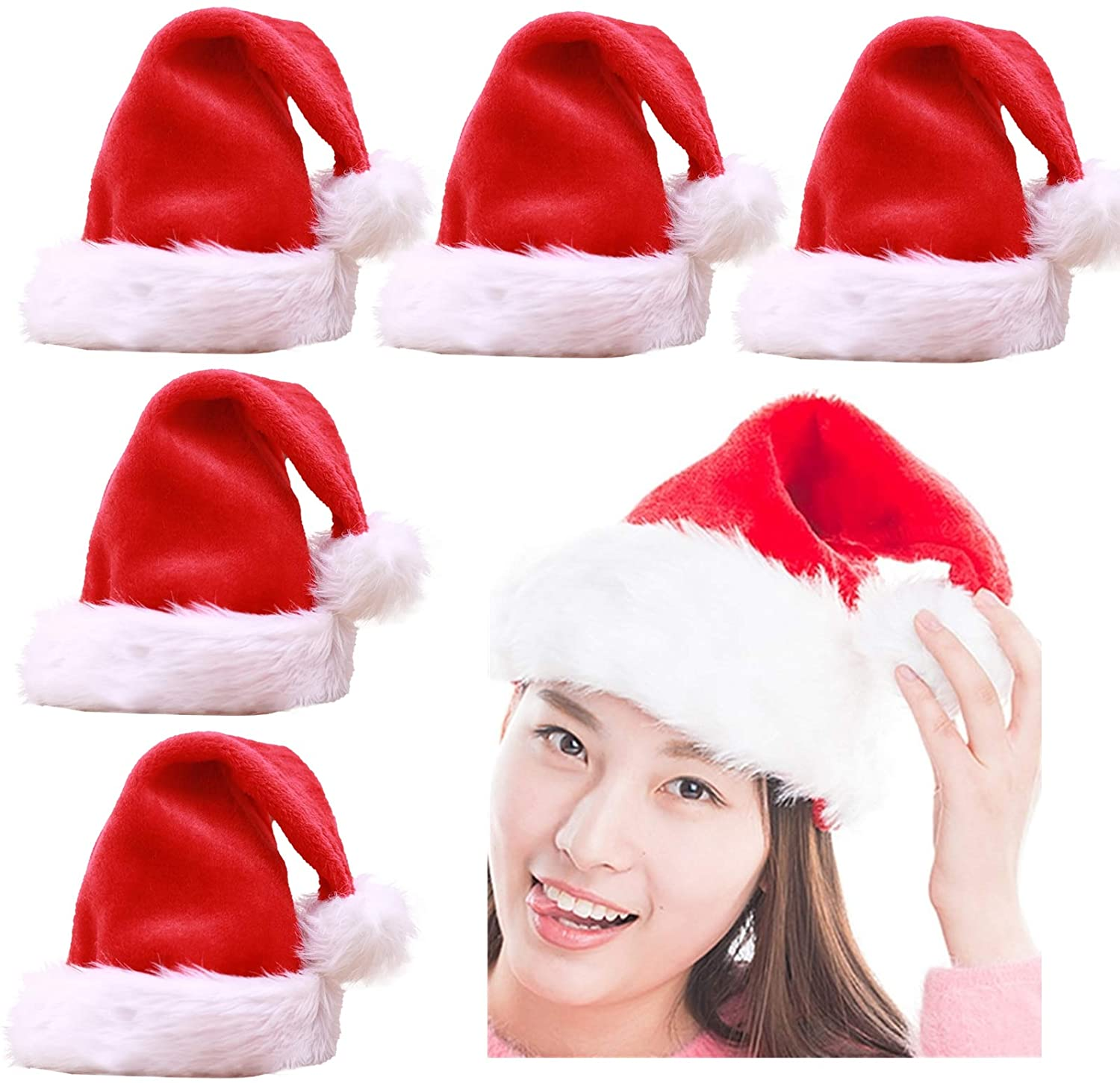 Yopay 6 Pack Santa Hat, Unisex-Adult's Christmas Holiday Hat, Double Liner Velvet Comfort Christmas Party Hats with Plush Trim and Comfort Liner