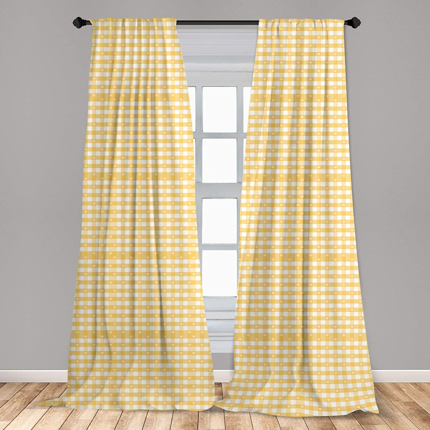 Ambesonne Vintage Window Curtains, Gingham Pattern with Bicolor Checkered Squares with Heart Shaped Motifs, Lightweight Decorative Panels Set of 2 with Rod Pocket, 56