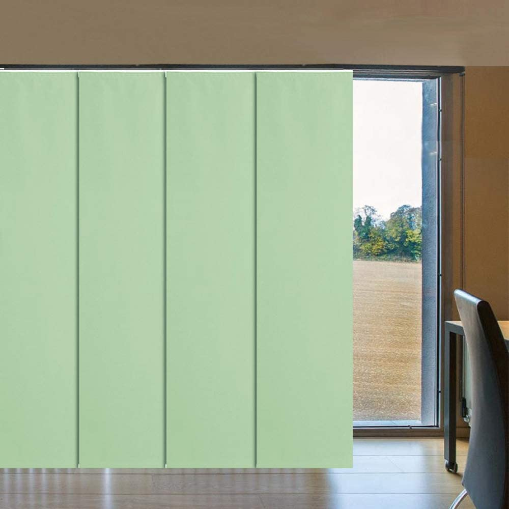 LETUA Slidding Panels Track Blinds, 100% Blackout Made to Order Vertical Blinds for Large Windows, Slidding Doors, Open Spaces and Room Dividers, Light Green