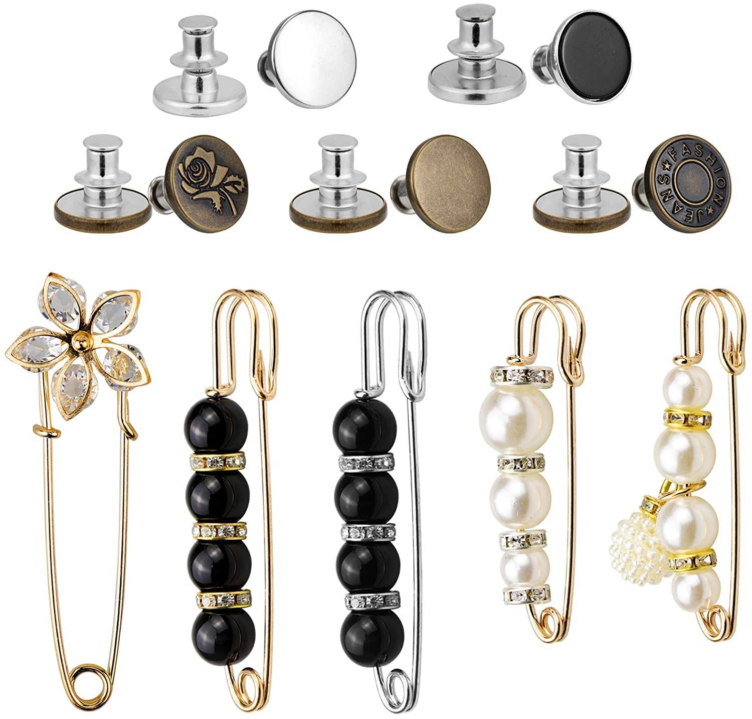 Yotako 10 PCS Adjustable Waist Brooch Pins Sweater Shawl Clips Pearl Safety Pin and No Sew Replacement Jeans Buttons Waist Buckles Perfect Fit Instant Button