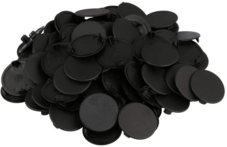 100Pcs 40mm Hinged Plastic Screw Cover Fold Snap Caps Furniture (Black)