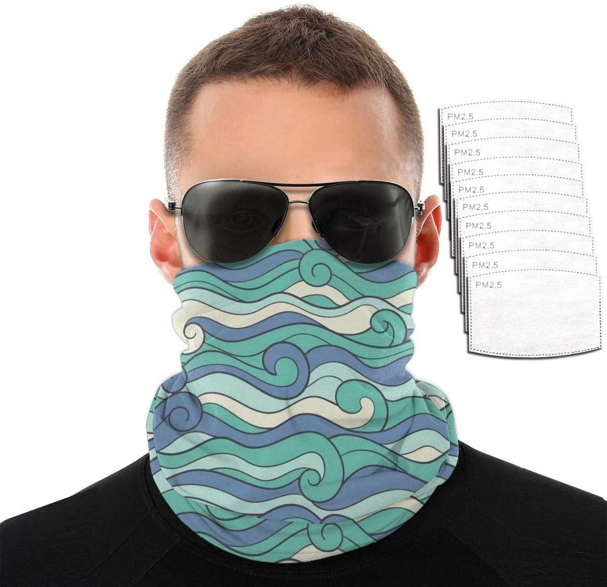 Headwear Unisex Blue Waves Variety Face Towel Headbands Insert Carbon Filter Bandana Neck Gaiter Face Protector For Dust Outdoors