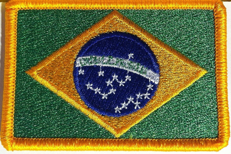 Brazil Flag Embroidery Iron-on Patch Brazilian Emblem Gold Border