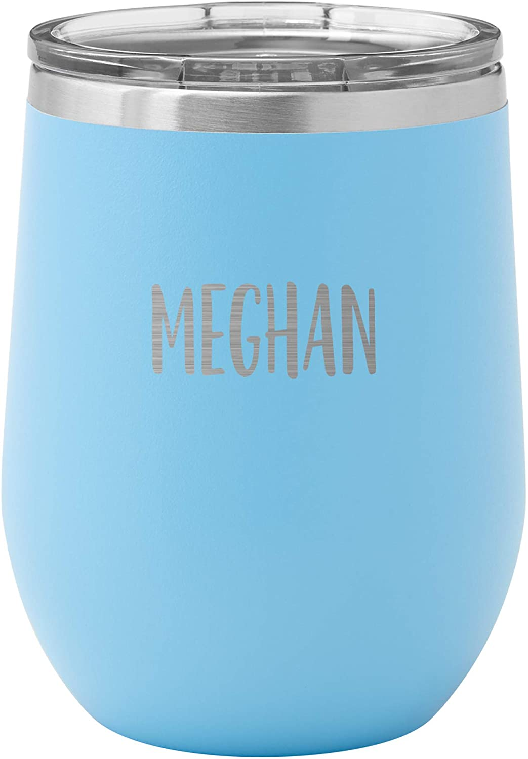 Personalized Wine Tumbler – Double Wall Vacuum Insulated Stainless steel - Custom engraved - Teal Tumbler with script font any message customized - 20 oz. - Hot or cold