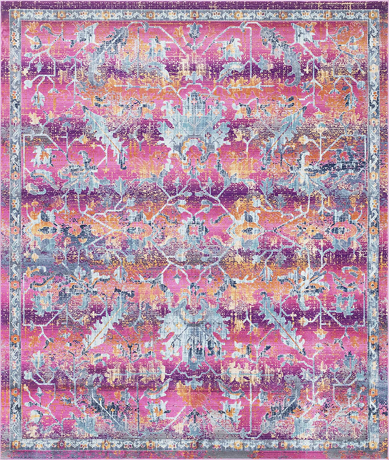 Rugs.com Budapest Collection Area Rug – 8X10 Fuchsia Low-Pile Rug Perfect for Living Rooms, Large Dining Rooms, Open Floorplans