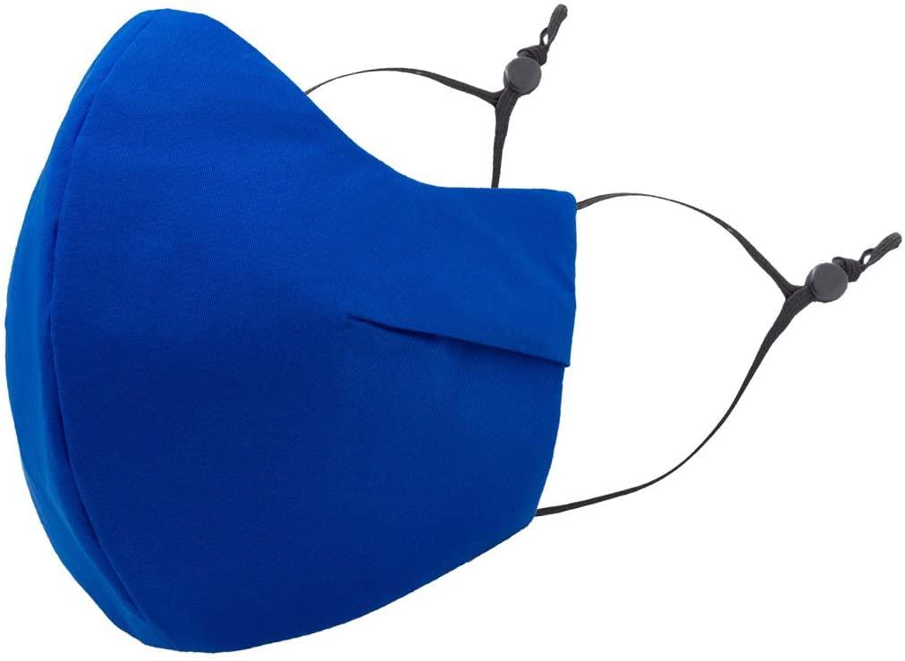 Masker-AID: Cotton 3 Layer Reusable, Reversible, Breathable, Unisex Adult Face Mask (3-Pack) (Over Ear S/M, Cobalt Blue)
