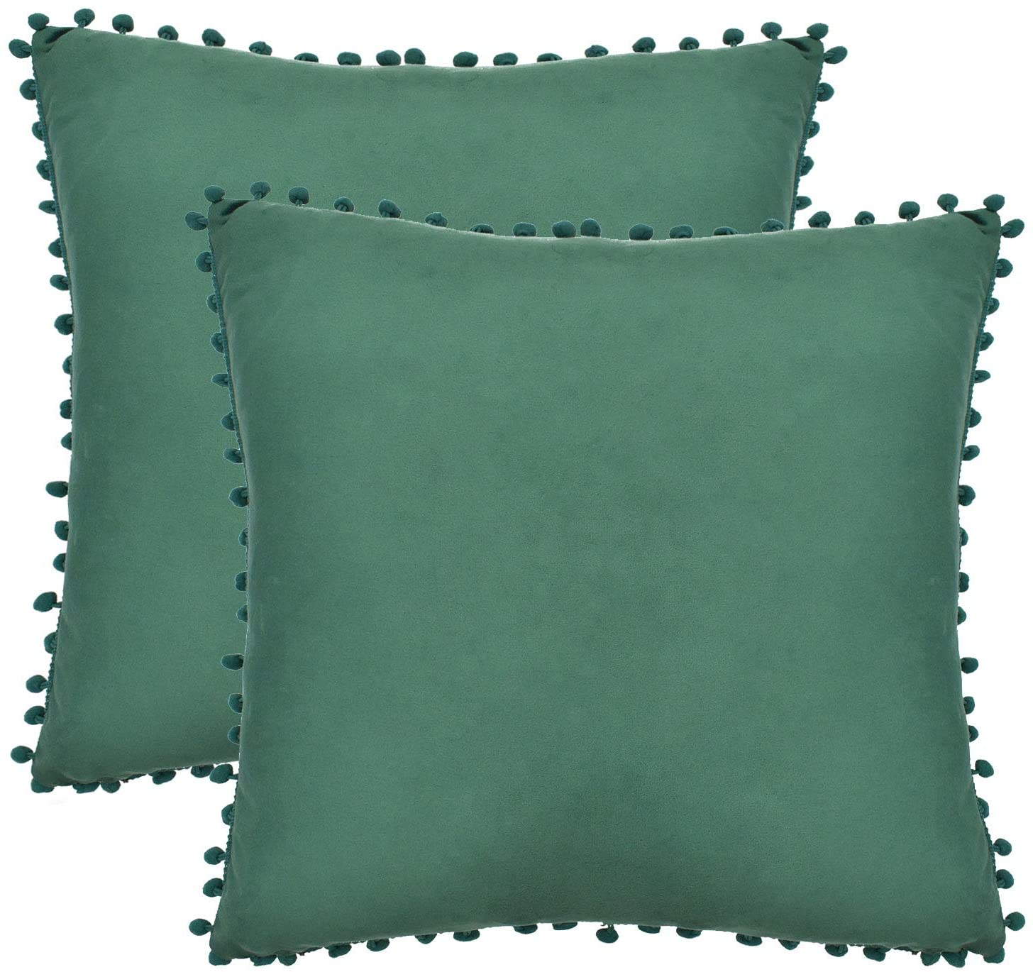 XIECCX 2 Pack Velvet Throw Pillow Covers, Pom Poms Super Soft Decorative Square Pillowcase Solid Cushion Covers Home Decoration for Sofa Bedroom Car 18 x 18 Inch, Green