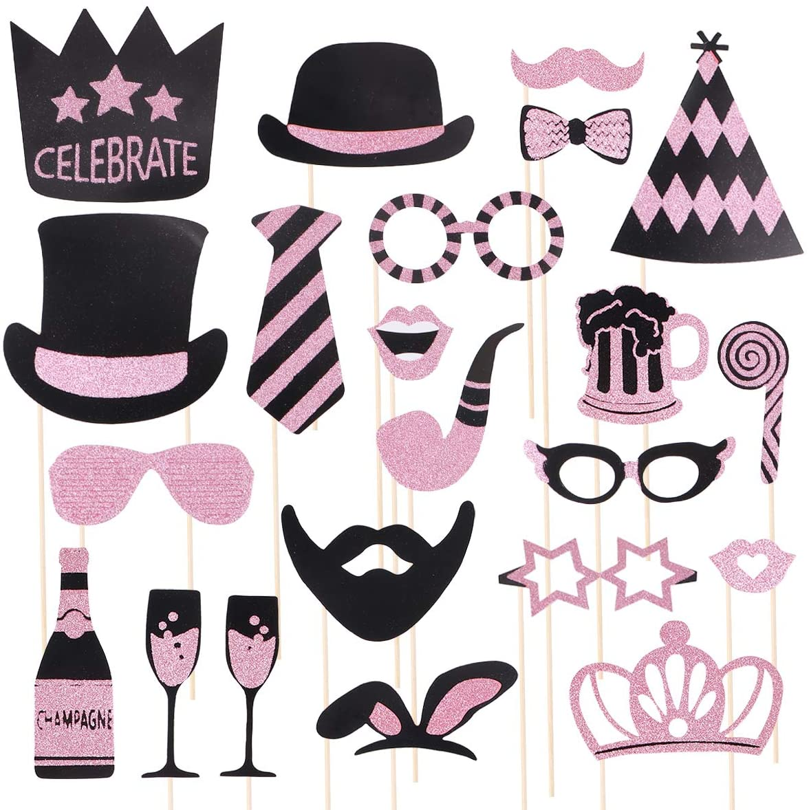 Birthday Wedding Party Photo Props Photo Booth Props Party Decorations Supplies (Rose Gold)