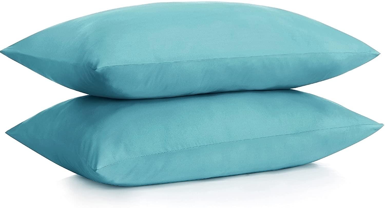 ALEXANDRA'S SECRET HOME COLLECTION Microfiber Pillow Case with Zipper, 2 Pillow Cases (King, Aqua)