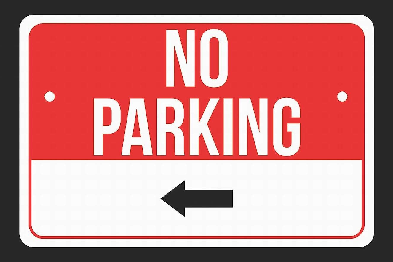 Ufcell No Parking (Left Arrow) Sign Print Red, White and Black Notice Parking Metal Sign 8x12 Wall Decor