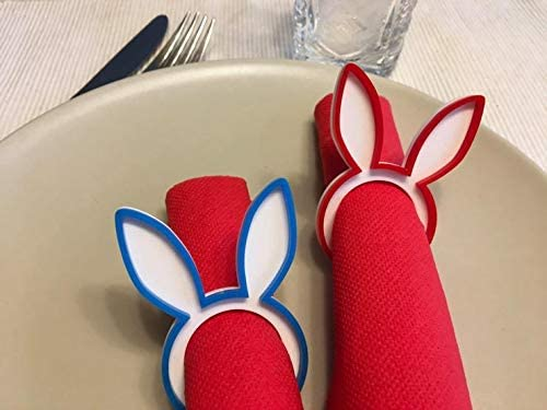 Generic - Bunny napkin ring holders Rabbit napkin rings Easter decorations Bunny head First Easter Dinner party Kids tab
