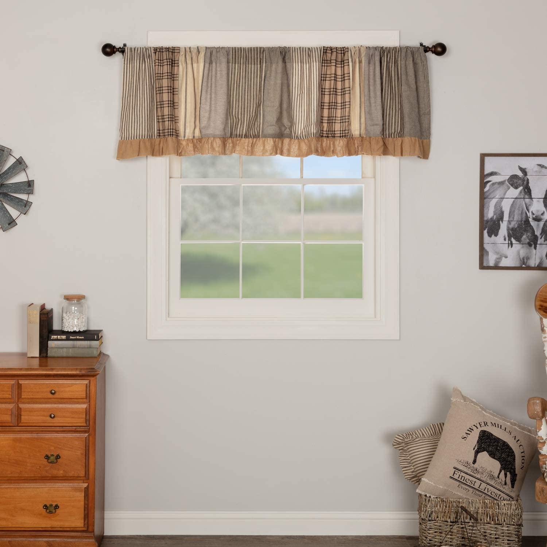 VHC Brands Farmhouse Kitchen Window Sawyer Mill Patchwork Curtain, Valance 19x90, Charcoal Grey
