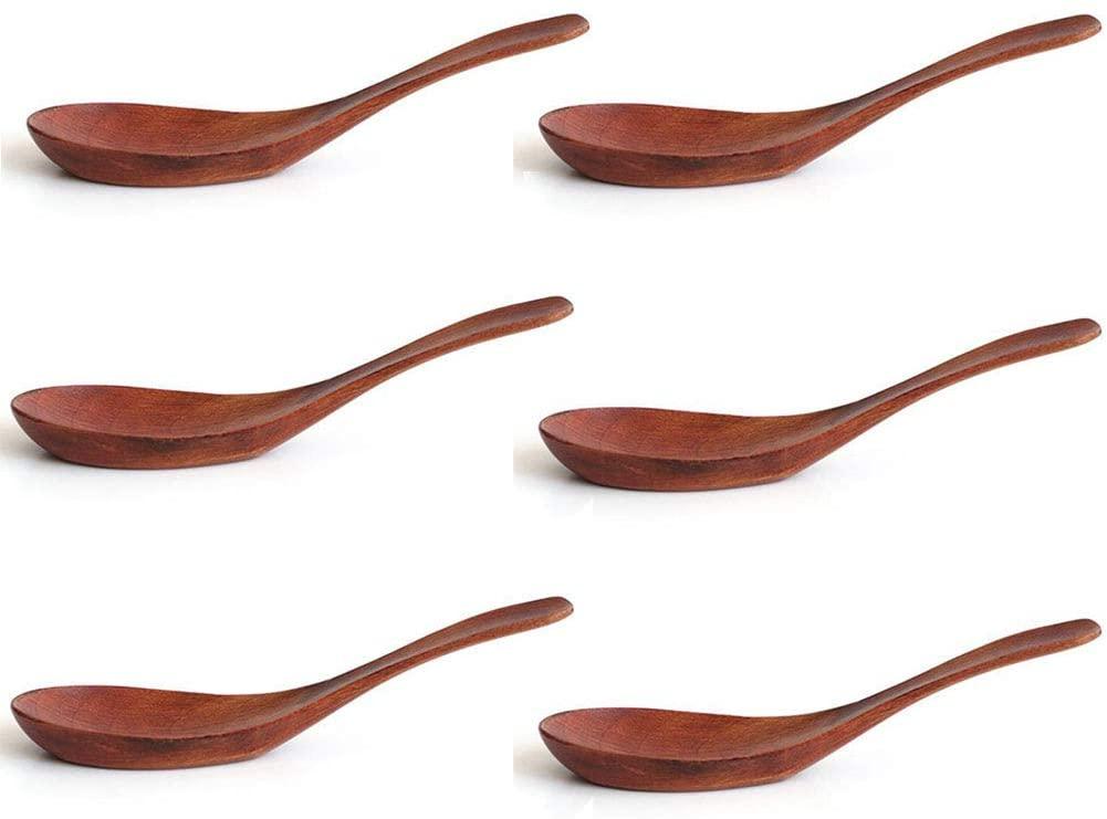 Soup Spoons, Wooden Spoons, BEST HOUSE 6 Pieces Eco Friendly Japanese Tableware Natural Asian Chinese Won Ton Soup Spoons for Eating Mixing Stirring Cooking