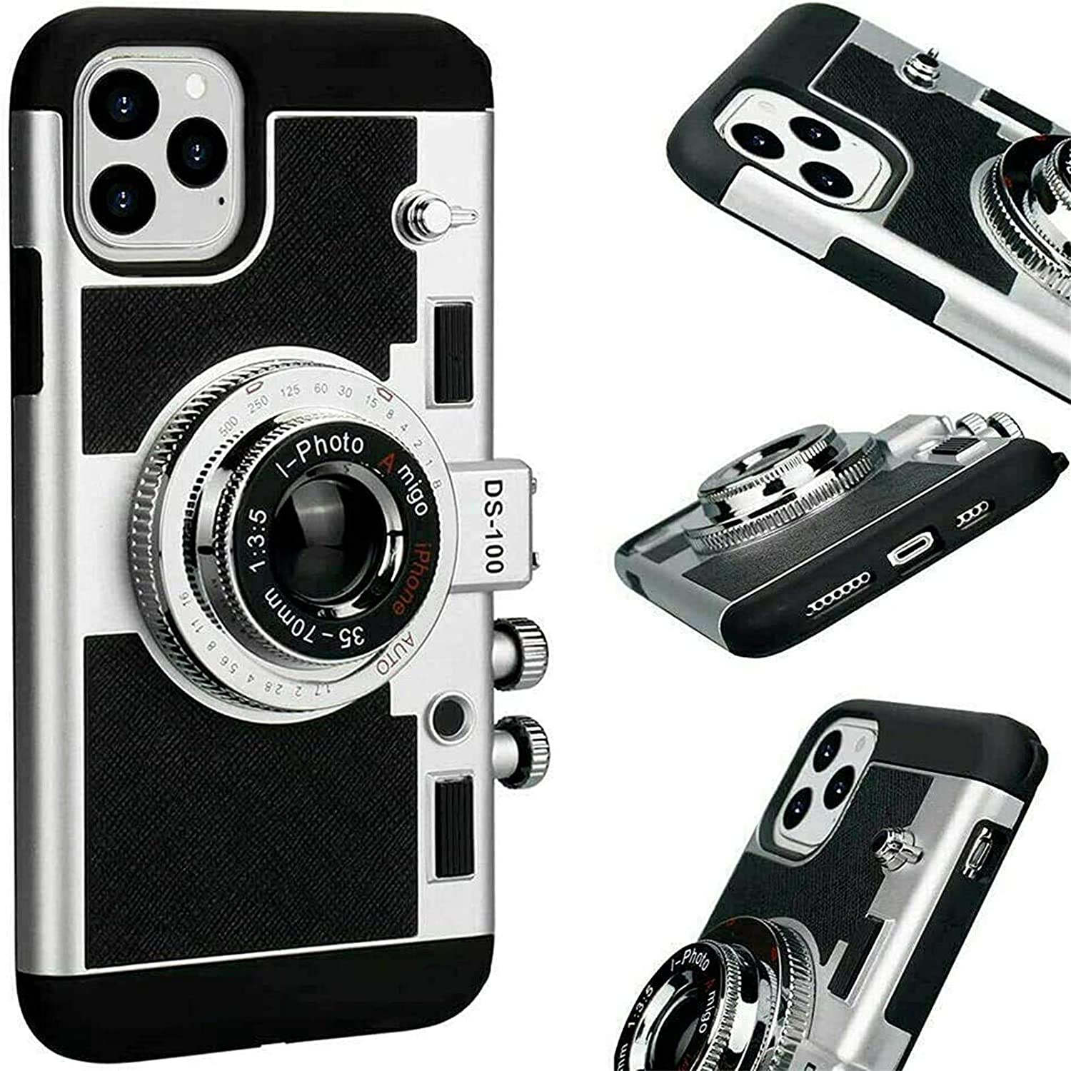 ZSDAS New Emily in Paris Phone Case Vintage Camera Compatible for iPhone 11 PRO/X/XS/MAX with Long Strap Rope,Modern 3D Vintage Style Camera Design Silicone Cover D for IP 11