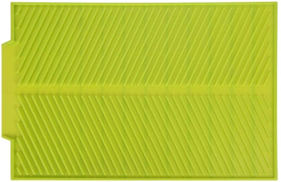 Universal Dish Drainer Mat, Rectangle Silicone Draining Board Mat For Kitchen Sink, Drying Dishes Pad Heat Resistant Slip-proof Tray (Color : Green)