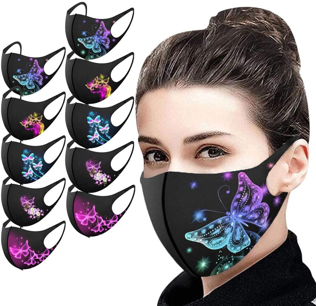 5/10/25PCS Washable Reusable Face_mask Butterfly Face Mouth Bandana Breathable Fabric Cloth Stretch Lightweight for Adults Unisex for Sport Party