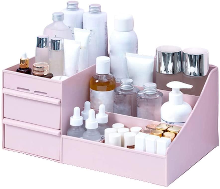 Large-Capacity Cosmetic Storage Box, Desktop Multi-Purpose Drawer Box, Makeup Table for Bedroom, Bathroom, Office (Pink,25.2x15.4x11.5cm)