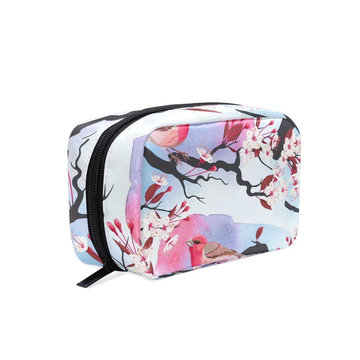 Makeup Bag Portable Travel Cosmetic Train Case Peach Blossom Bird Toiletry Bag Organizer Accessories Case Tools Case for Beauty Women
