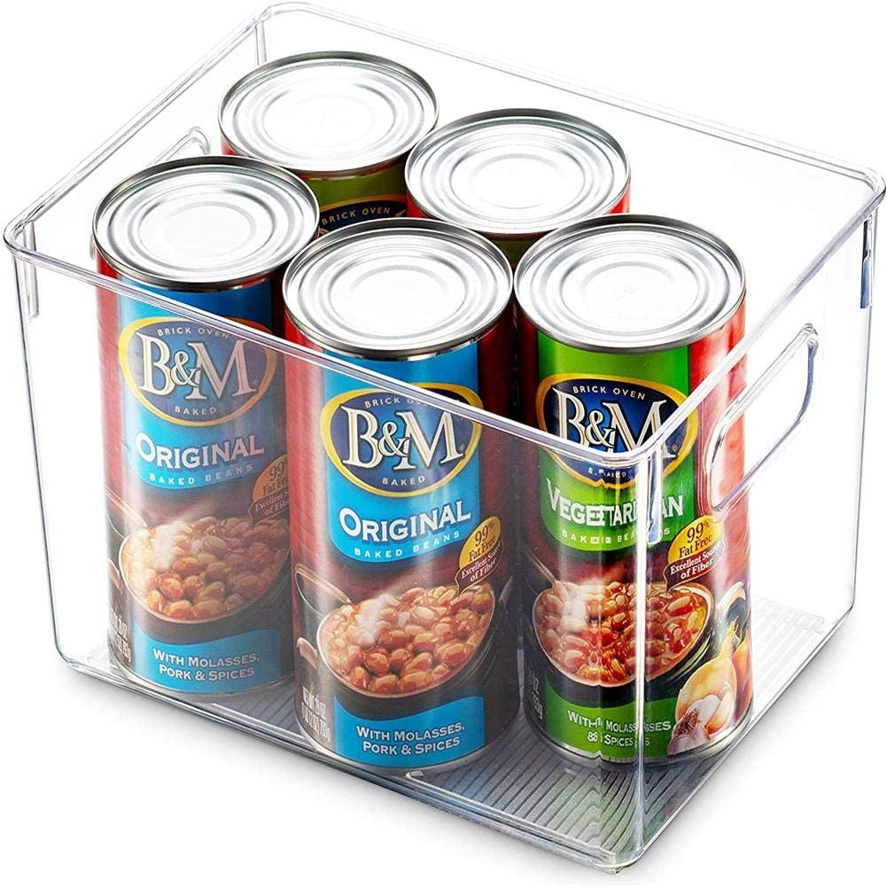 N/D Clear Pantry Organizer Bins,Stackable Fridge Organizers with Cutout Handles for Freezer, Kitchen, Countertops, Cabinets,Household Plastic Food Storage Basket,Multi Size