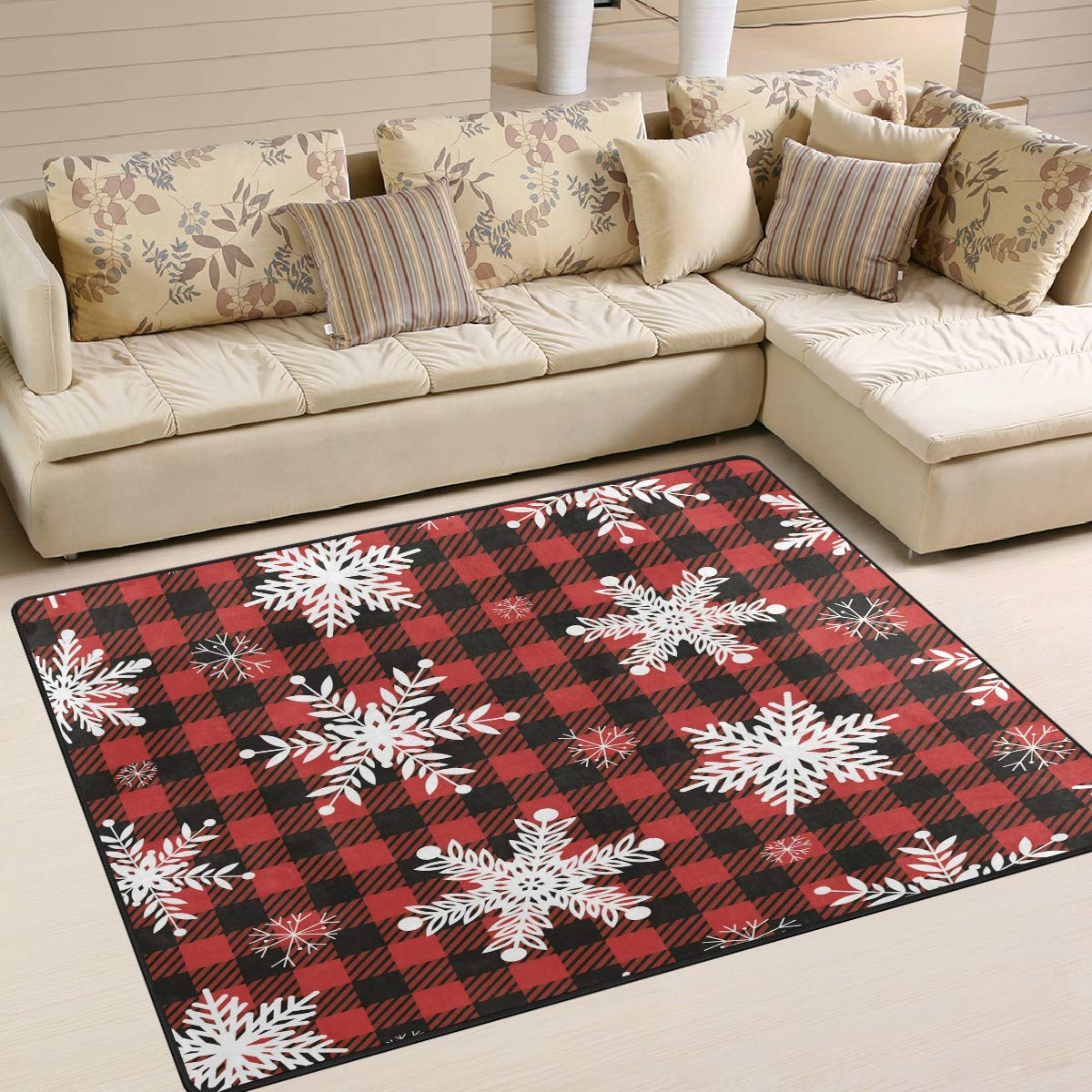 ALAZA Home Decoration Snowflakes Red Black Buffalo Plaid Large Rug Floor Carpet Yoga Mat, Modern Area Rug for Children Kid Playroom Bedroom, 5' x 7'