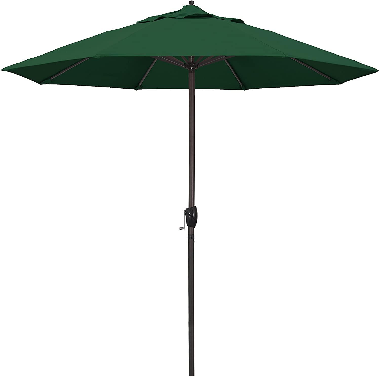 California Umbrella 9' Round Aluminum Market Umbrella, Crank Lift, Auto Tilt, Bronze Pole, Hunter Green Olefin