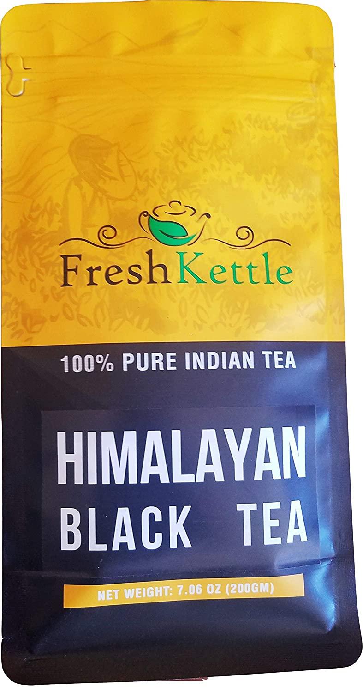 Freshcarton - Himalayan Black Tea | 7.06oz / 200gm | Black Tea loose leaf from India in Himalayan region | High Energy Teas & Strong Muscatel