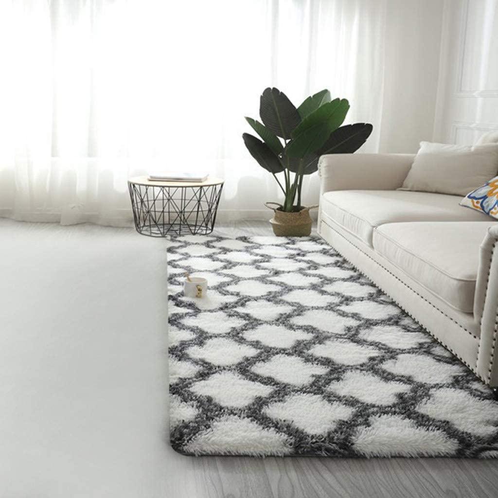 Ultra Soft Modern Area Rugs Shaggy Rug Home Room Plush Carpet Decor Floor Mat Office Floor Mats for Carpet (White)