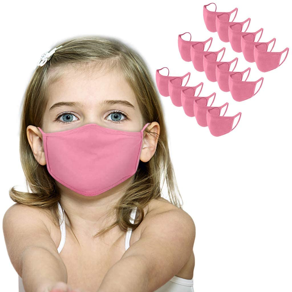 15PCS Cotton Face_Mask for Kids,Solid Color Washable Reusable Face Mouth Protection,Dust Haze Breathable Face Bandanas for Boys&Girls (Pink)