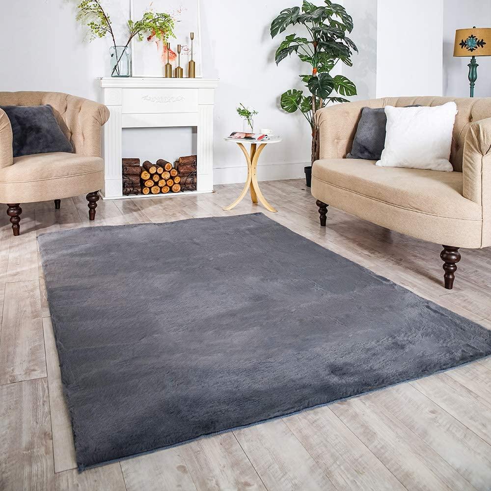 Carvapet Ultra Soft Faux Rabbit Fur Area Rug Fluffy Bedside Carpet Mat for Bedroom Floor Living Room,4ft x 6ft,Gray