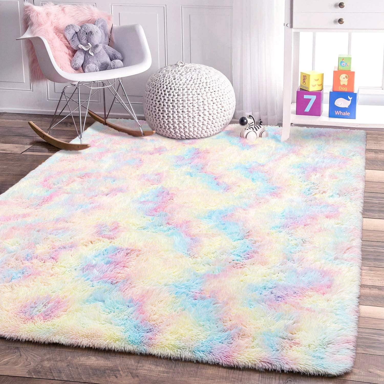 BBSET Fluffy Colorful Shag Area Rug Rainbow Plush Carpet for Kids Girls Living Room Bedroom Multicolor Area Rug for Home Floor Decor Nursery (Rectangle 5x8feet)