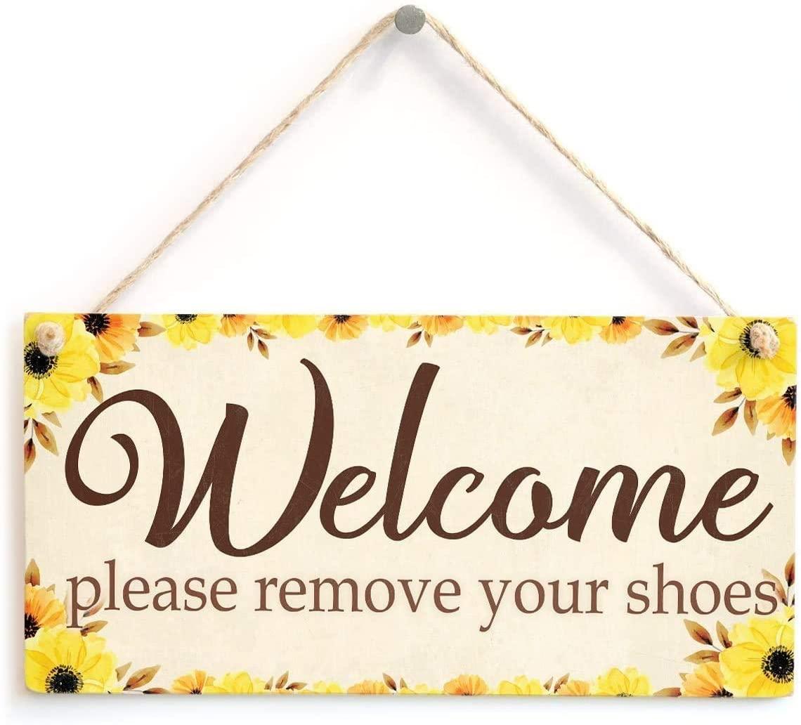 ROONASN Welcome Please Remove Your Shoes, 5X10 Retro Home Gift Decoration Sign,Entrance Vestibule Door Welcome Plaque -11