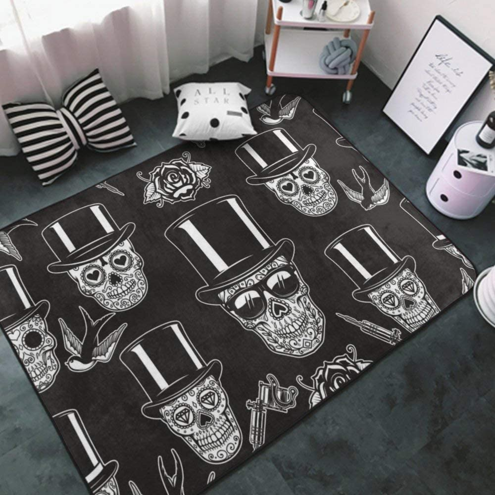 Area Rug Non Slip Cozy Carpets Home Decor Rug Floor Mat for Bedroom, Outdoor, Kitchen, Washable Carpet Mexican Sugar Skulls tattoo9 Area Rugs