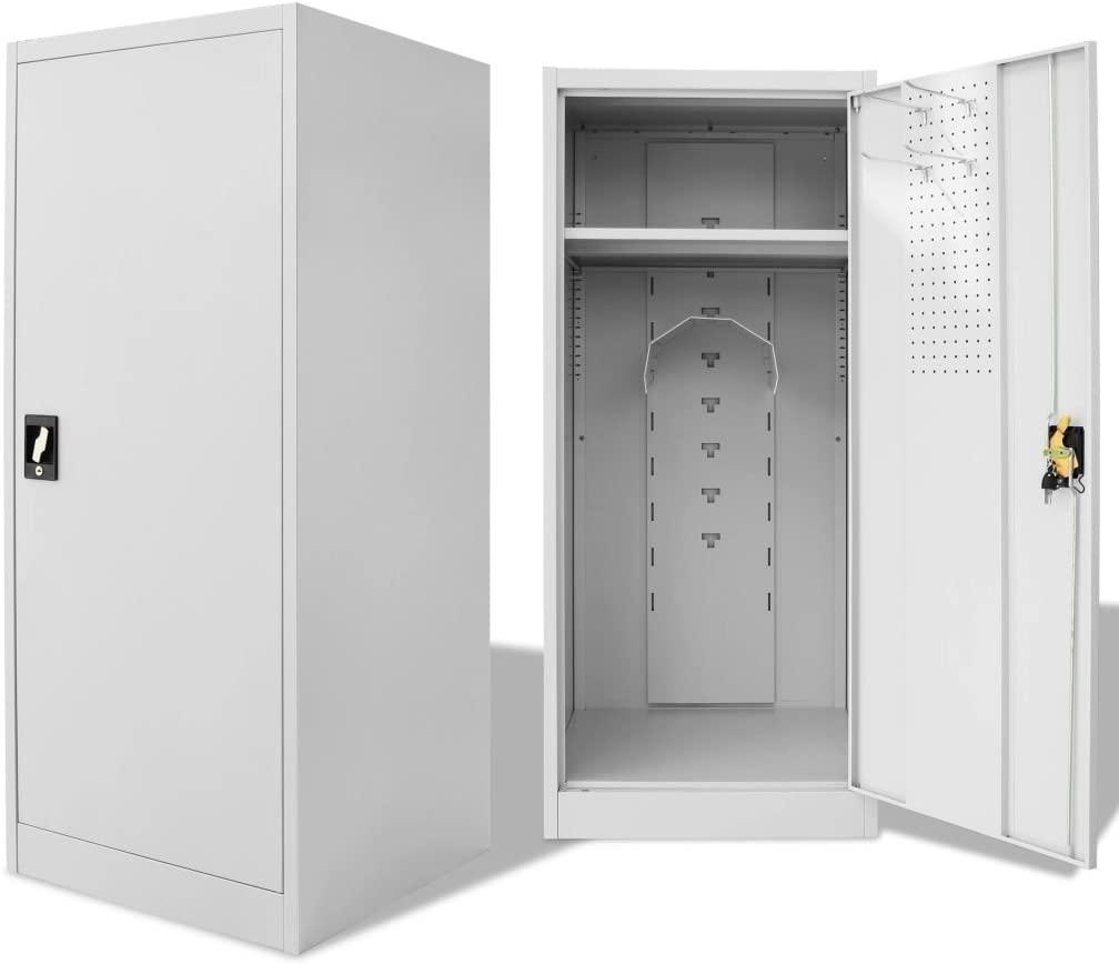 Festnight Saddle Cabinet Metal Locker Cabinet Steel Locker Cabinet with Lockable Door(23.6