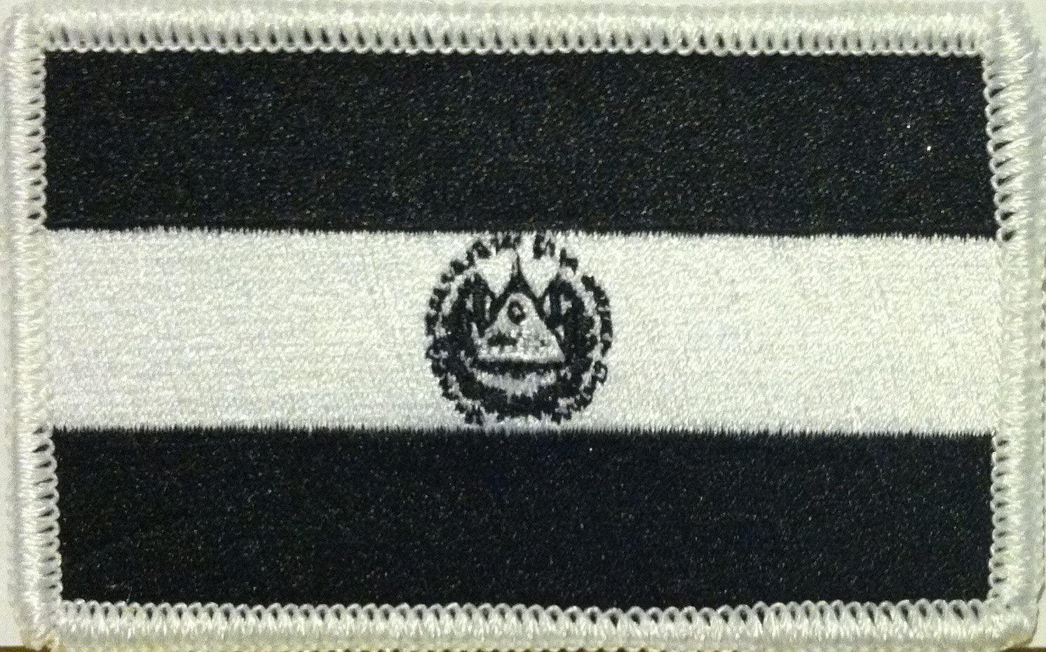 EL SALVADOR Flag Embroidered Iron-on Patch Black & White Version Military Shoulder Emblem #013