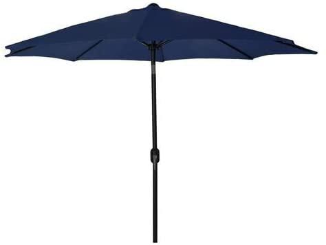 9 FT Outdoor Umbrella with Push Button Tilt and Crank for Market, Backyard, Pool, Garden, Deck, 8 Ribs, (Navy)