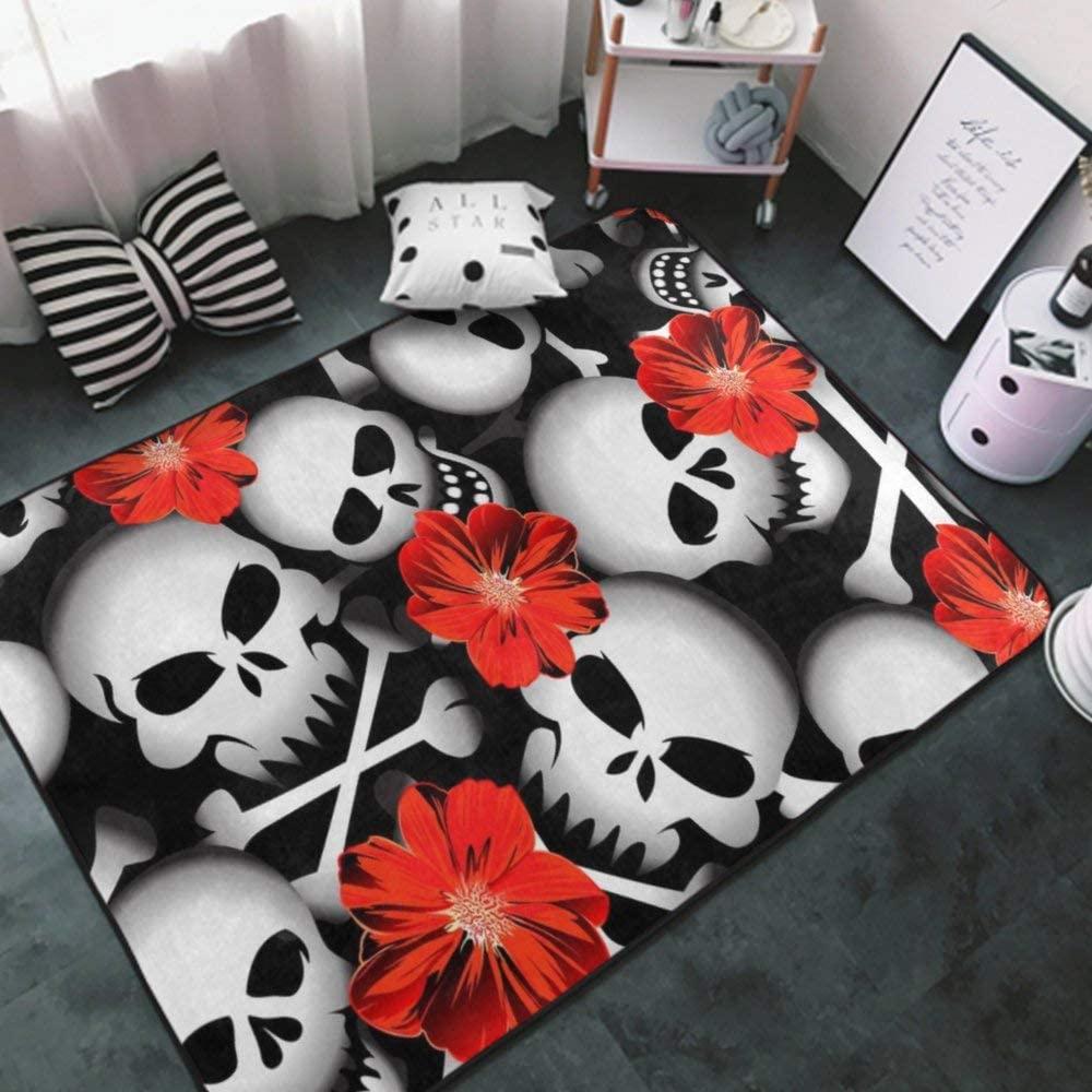 Area Rug Ultra Soft Carpet Sugar Skull red Flowers black4 Area Carpet Multipurpose Floor Mat for Bathroom, Nursery, Outdoor Area Rugs Carpet