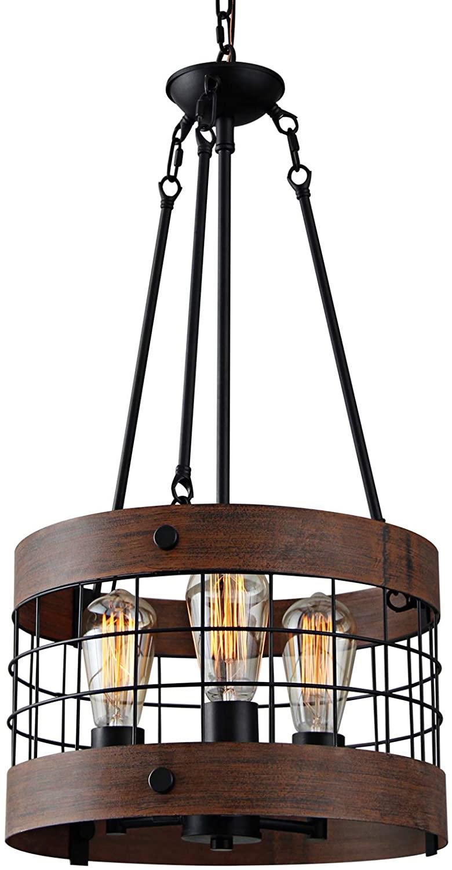 GOMUNIN Vintage Wooden Farmhouse Chandelier, Drum Shape Farmhouse Pendant Light, for Kitchen, Living Room,Iron & Wood,3 Lights