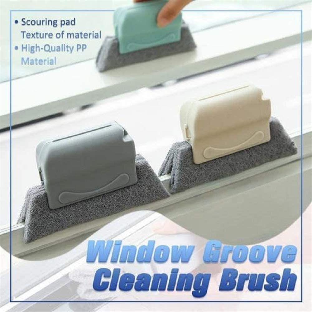 Window Groove Cleaning Brush, Handheld Window Groove Cleaning Tool with Sourcing Pad for Door Window Slides Cracks Gaps for Kitchen Bathroom, Comfortable Grip & Fixed Brush Head, Cleaning Supplies