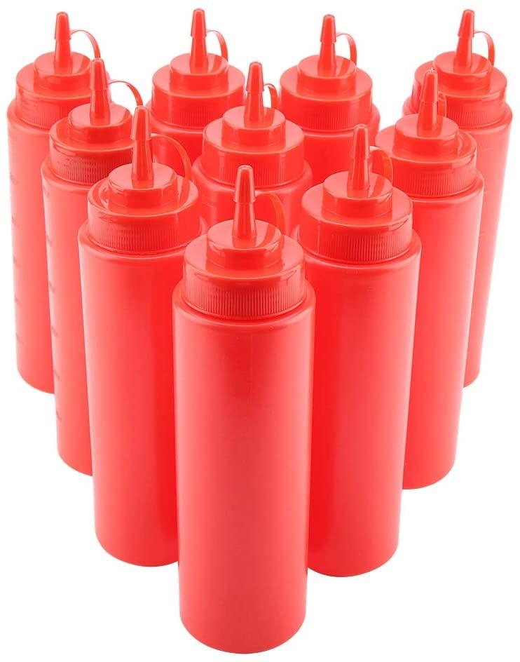 MAGT Condiment Dispenser, 10pcs / Set 720ml Large Capacity Plastic Sauce Oil Cream Vineger Dispenser(Red)