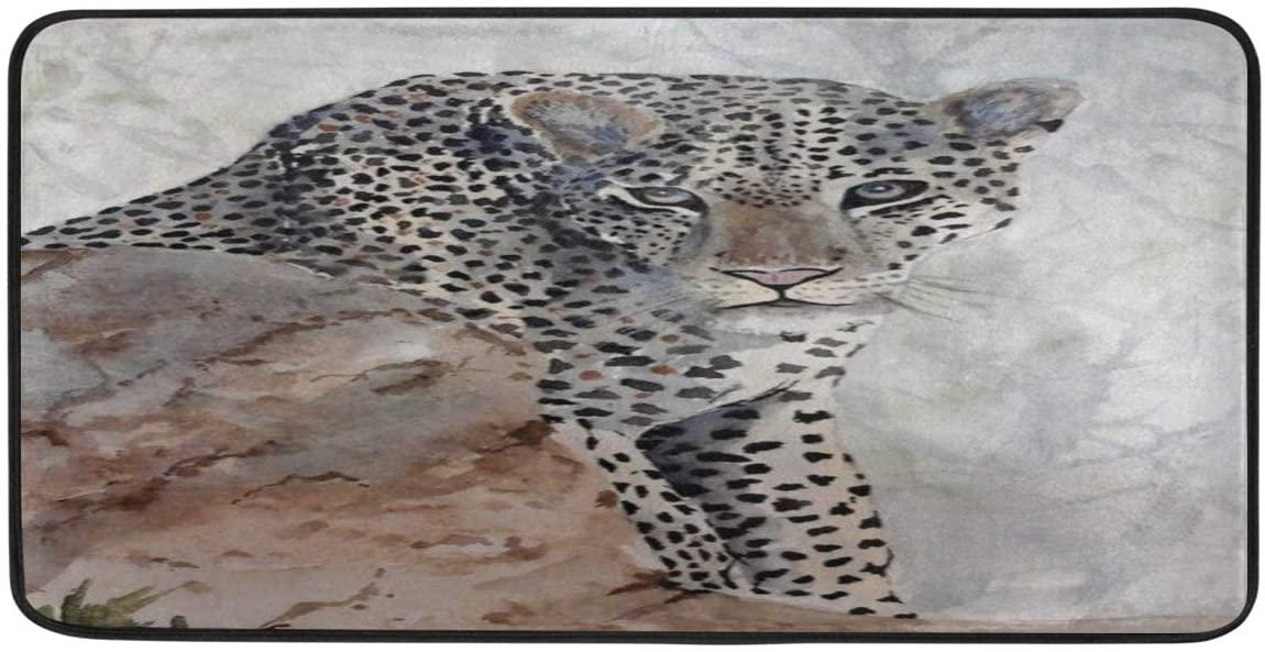 FORMEETY Animal Leopard Tree Theme Long Floor Mat Washable Area Rug Pads Kitchen Rug Doormat Carpet for Living Room Indoor Outdoor Bathroom Entryway