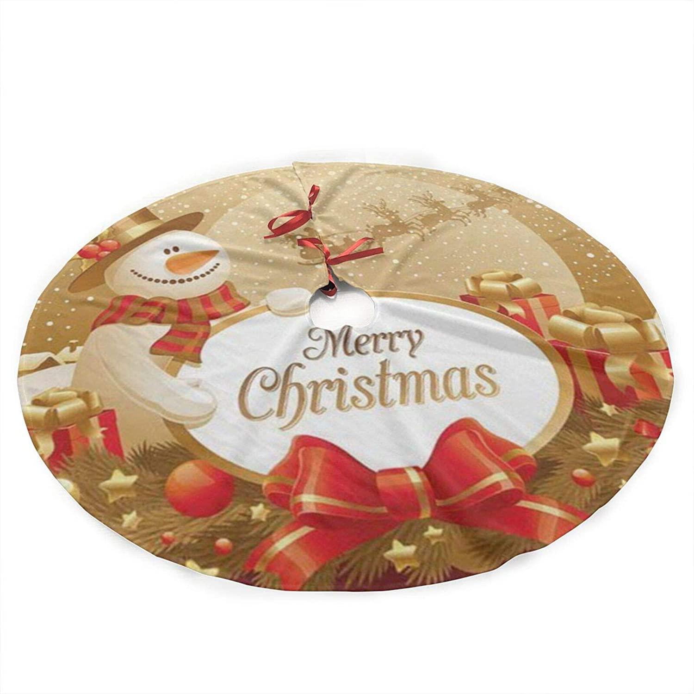 antcreptson Merry Christmas Cute Snowman Snowflake 36 Inches Christmas Tree Skirt, Xmas Tree Ornament Holiday Decoration