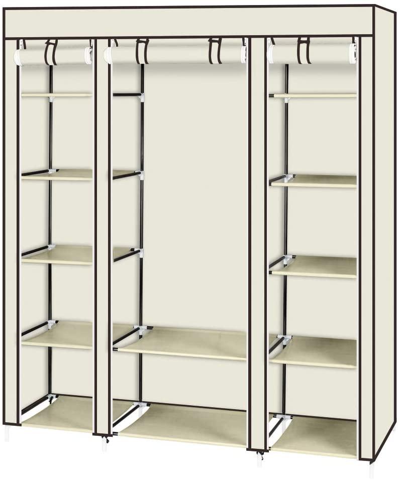 5 Tiers Fabric Wardrobe,Portable Wardrobe Clothes Organizer Closet with No-Woven Fabric Cover,Beige