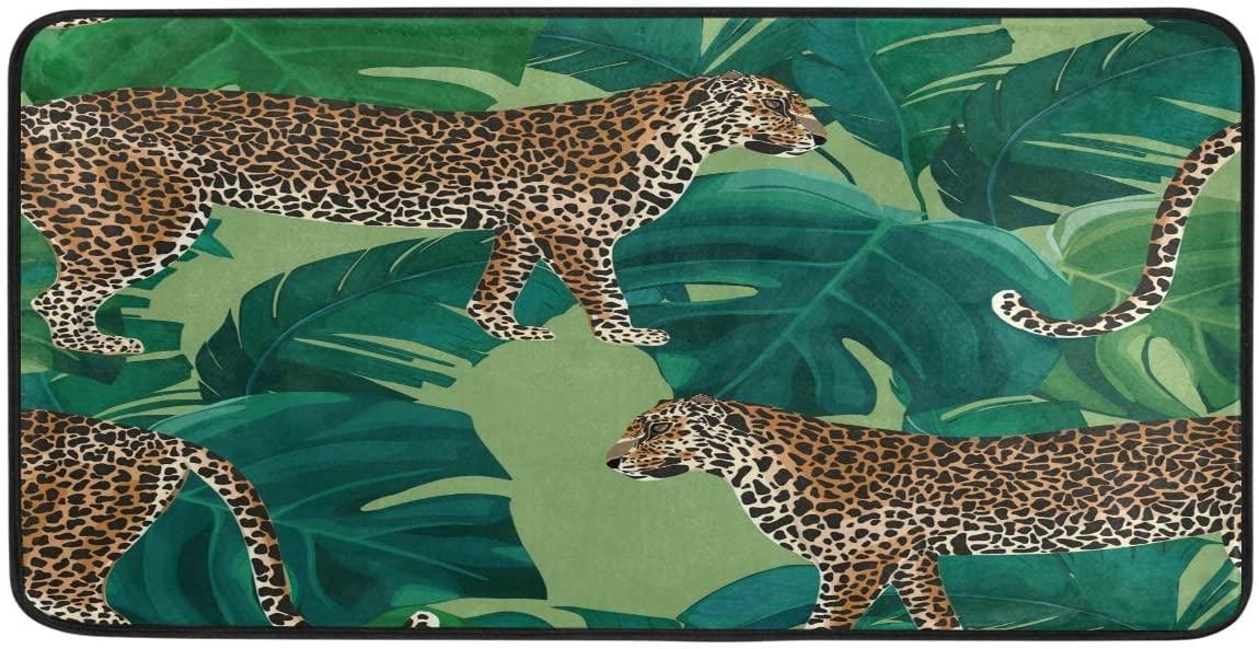 FORMEETY Animal Leopard Palm Leaf Long Floor Mat Washable Area Rug Pads Kitchen Rug Doormat Carpet for Living Room Indoor Outdoor Bathroom Entryway