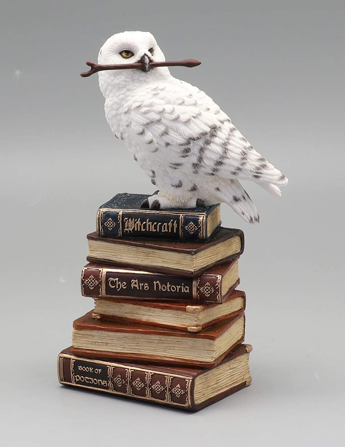 Veronese Design 5 1/2 Inch Magic Wand Snowy Owl On Book Stack Hand Painted Resin Statue Home Decor