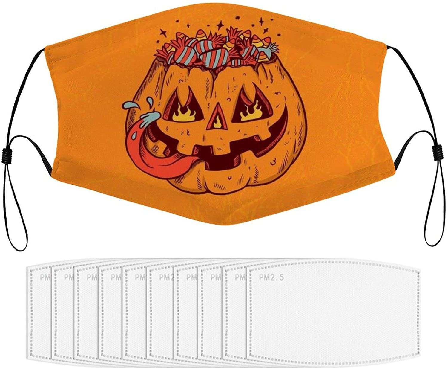 Face Mask Halloween Christmas Washable Earrings and Nose Line Comfortable Polyester Stretchy Fabric Protective with Adjustable Earband Suitable for Activities Outdoor Running Cycling Workout