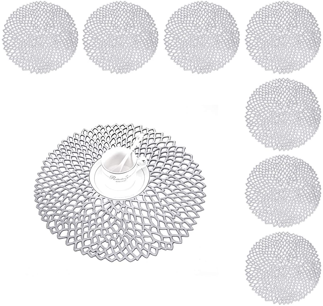 Set of 8 Round Placemats, Washable Heat Resistant Dining Place Mat, Crossweave Woven Vinyl PVC Table Mats, Coasters for Garden BBQ Outdoor