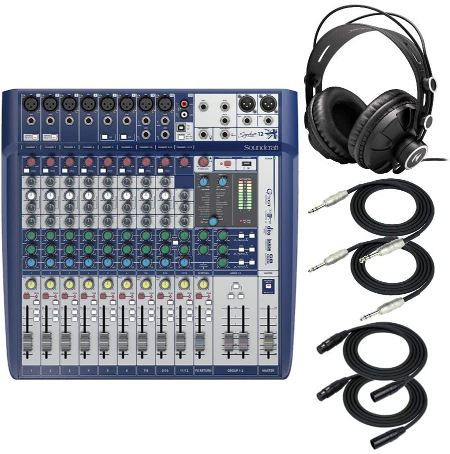 Soundcraft Signature 12 Analog 12-Channel Mixer with Onboard Lexicon Effects Bundle - Includes Knox Gear Closed-Back Studio Monitor Headphones, 1/4-Inch TRS Cables, and XLR Cables (6 Items)