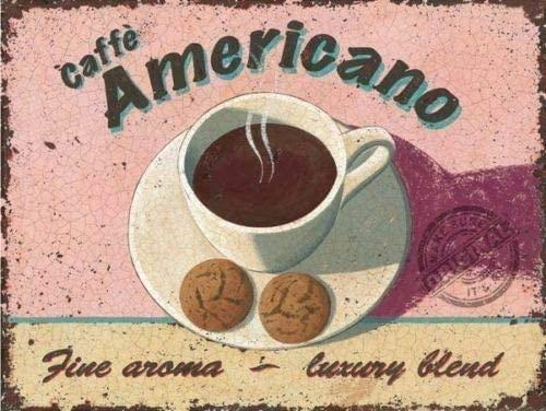 Caffe Americano Fine Blend Aroma Coffee Kitchen Cafe Metal Tin Sign Retro Kitchen Garage Decor Signs 8x12inch