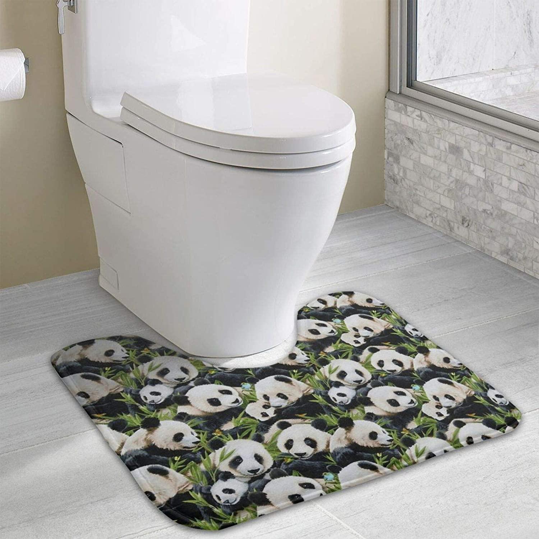 NiYoung Toilet Bath Mat Comfortable Kawaii Panda Toilet Bath Mat Waterproof Rug Dry Quickly U-Shaped Contour Rugs Bathroom Rugs