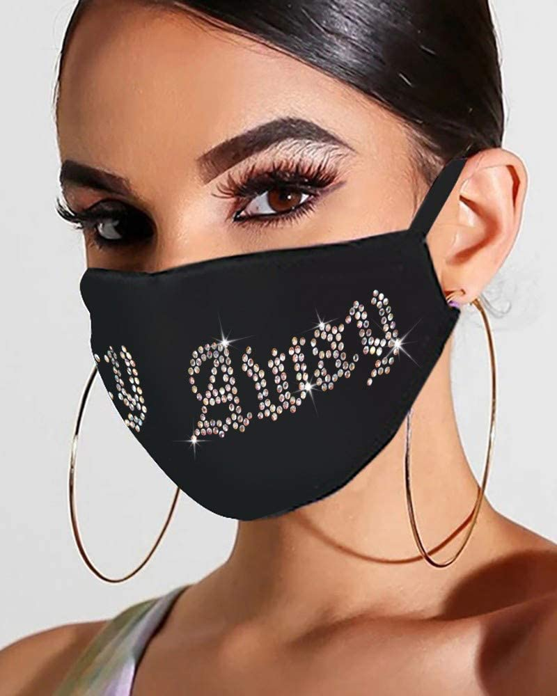 (US Shipping 7-15 Days) Adult Face_Mask Drill Rhinestone Letter Print Masque Washable Reusable Breathable Ice Cotton Windproof Protective Dustproof Anti Pollen Pollution for Outdoor Sports 1PC